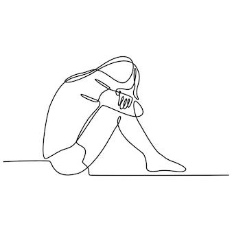 Doorlopende lijntekening van een jonge vrouw die zich verdrietig, moe en bezorgd voelt en aan depressie lijdt