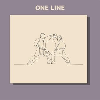 Doorlopende lijntekening van een mannelijke karate-atleet