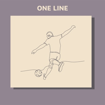 Doorlopende lijntekening van een mannelijke voetballer speelt een bal schoppen.