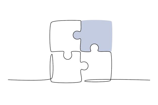 Doorlopende lijntekening van een samengevoegde puzzelspelgroep teamwork samenwerking en zakelijke ...