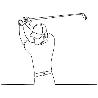 Doorlopende lijntekening van golfer die de bal in volle gang raakt om te concurreren