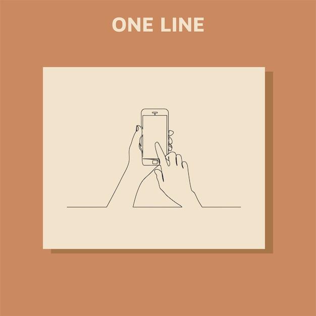 Doorlopende lijntekening van hand typen op mobiele telefoon