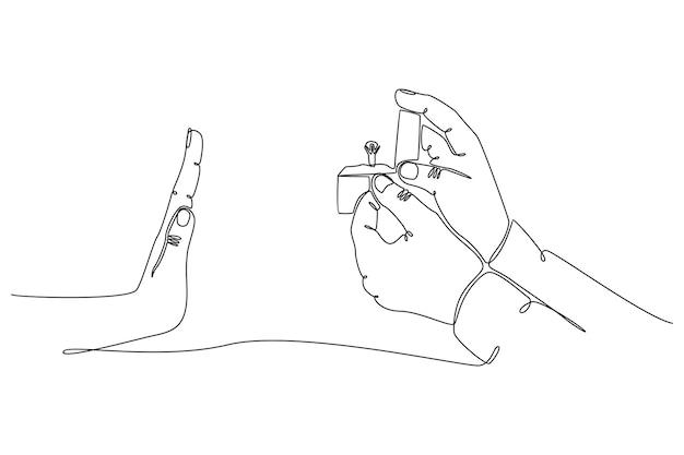 Doorlopende lijntekening van handen die trouwringen geven en eindigen met afwijzing vectorillustratie