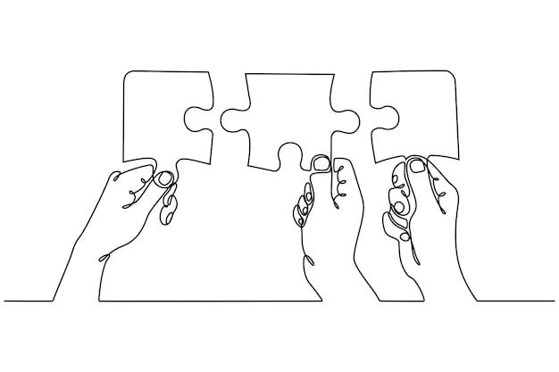 Doorlopende lijntekening van handen die twee stukjes puzzelsamenwerkingsconcept combineren