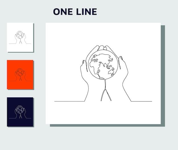Doorlopende lijntekening van handen met earth globe