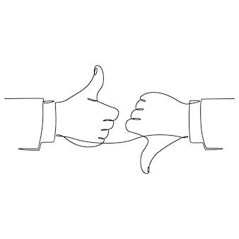 Doorlopende lijntekening van handgetekende duim omhoog en omlaag houdt van en houdt niet van zakelijke symbool vector i