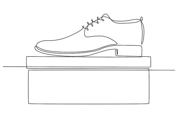 Doorlopende lijntekening van herenschoenen schoen winkel concept vectorillustratie