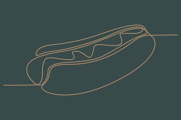 Doorlopende lijntekening van hotdog vectorillustratie