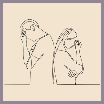 Doorlopende lijntekening van man en vrouw die lijden aan depressie in de geestelijke gezondheid