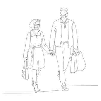 Doorlopende lijntekening van man en vrouw die maskers dragen vector