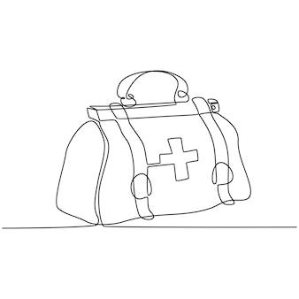 Doorlopende lijntekening van medische tas vectorillustratie