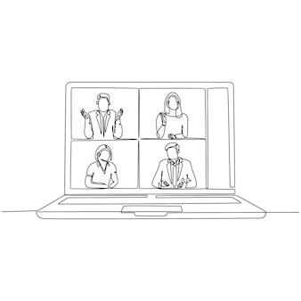 Doorlopende lijntekening van mensen die samen videogesprekken voeren met laptop vectorillustratie