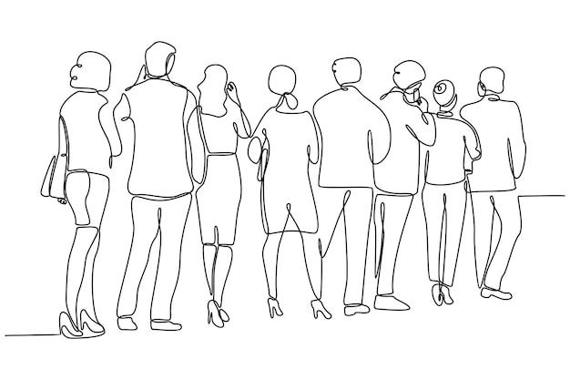 Doorlopende lijntekening van mensen in lijn vectorillustratie
