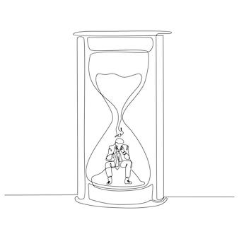 Doorlopende lijntekening van succesvolle zakenman die tijd verdeelt en op een zandloper zit