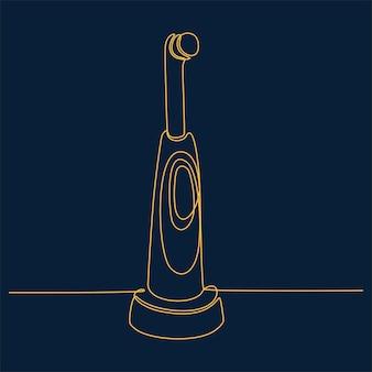 Doorlopende lijntekening van tandenborstel vectorillustratie