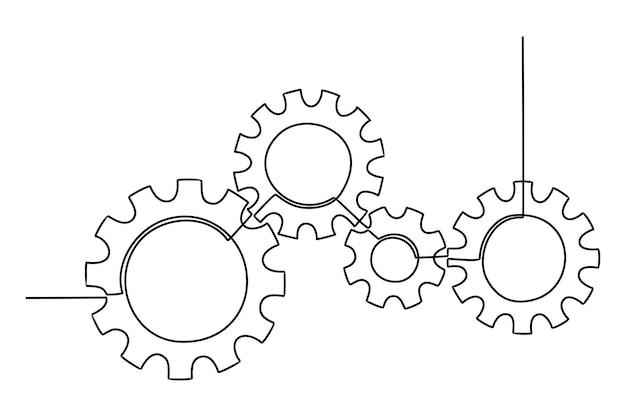 Doorlopende lijntekening van tandwielenwiel tandwielen worden getekend door een enkele lijn op een witte achtergrond