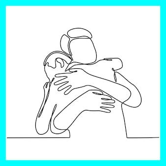 Doorlopende lijntekening van twee mensen die elkaar omhelzen twee jonge mannen omhelzen elkaar