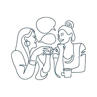Doorlopende lijntekening van twee vrouwen die koffie drinken in een restaurant, twee gelukkige meisjes die lachen...