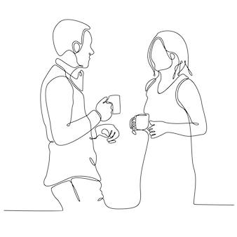 Doorlopende lijntekening van twee zakenlieden die drinken terwijl ze over koffie praten