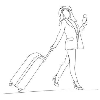 Doorlopende lijntekening van vrouw die koffers trekt op vakantiereizen vectorbeelden