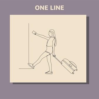 Doorlopende lijntekening van vrouw koffers trekken op vakantiereizen.