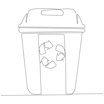 Doorlopende lijntekening van vuilnisbak vectorillustratie