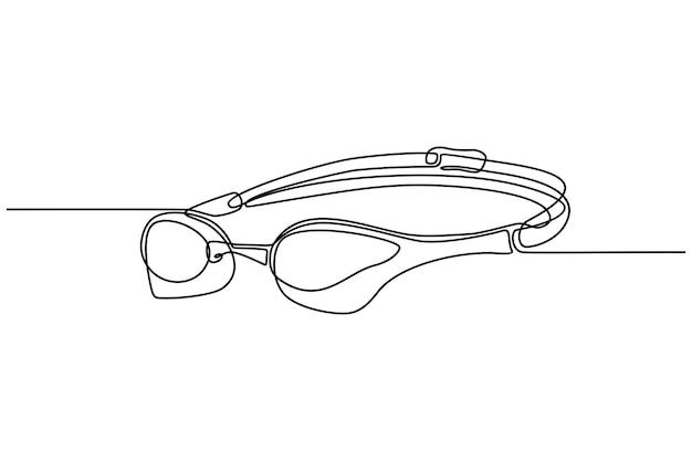 Doorlopende lijntekening van zwembril vectorillustratie