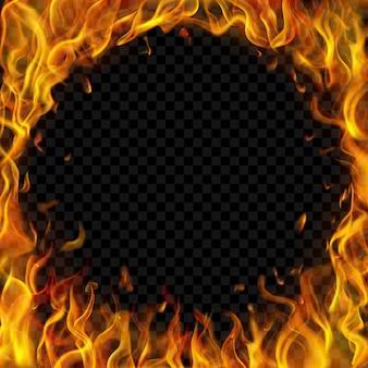 Doorschijnend rond frame gemaakt van vuurvlammen en vonken op transparante achtergrond. voor gebruik op donkere illustraties. transparantie alleen in vectorformaat