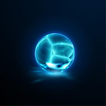Doorschijnende gebarsten kristallen bol. glanzende gebroken vriesbal met bijtende werking. edelsteen of minerale bubbel. game art concept