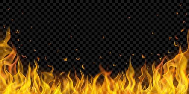 Doorschijnende vuurvlammen en vonken op transparante achtergrond