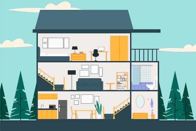 Doorsnede huis illustratie