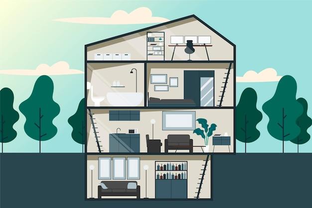 Doorsnede huis platte ontwerp illustratie