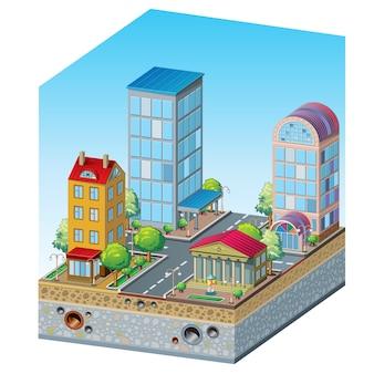 Doorsnede van een woonwijk, presentatie door architect: gebouwen, bomen, een fontein, een weg, een kruispunt, een riool en grondwaterafvoer