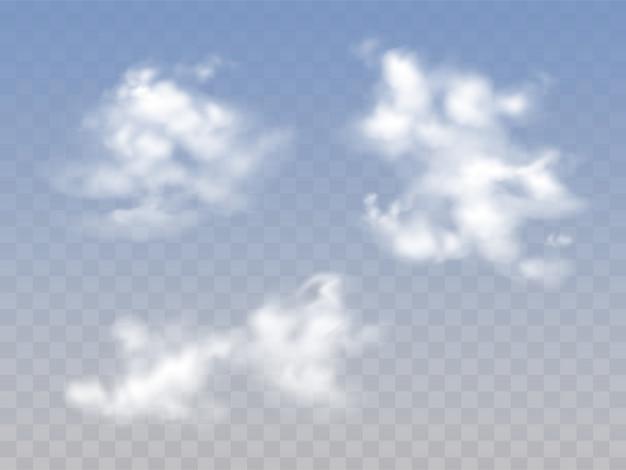 Doorzichtige blauwe bewolkte hemel met realistische pluizige wolken