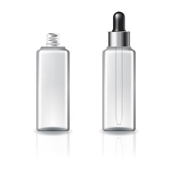 Doorzichtige vierkante cosmetische fles met druppeldeksel en zilveren ring.
