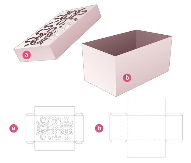 Doos en deksel met gestencilde mandala patroon gestanst sjabloon