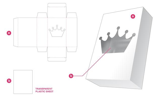 Doos en kroonvenster met doorzichtig gestanst sjabloon van plastic vel Premium Vector