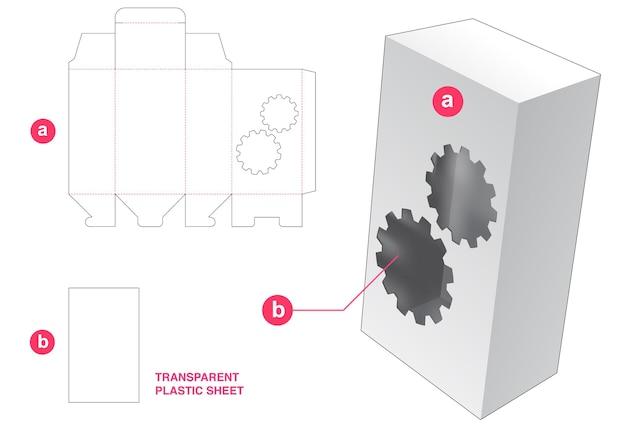 Doos en tandwielenvenster met doorzichtig gestanst sjabloon van plastic vel