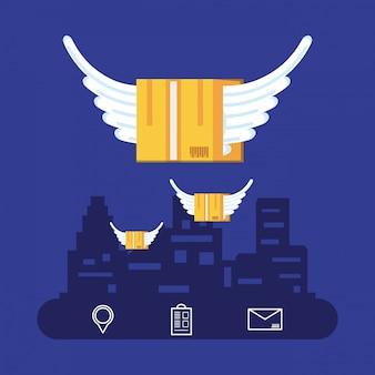 Doos karton vliegen met stadsgezicht en logistieke service