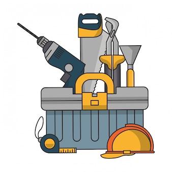 Doos met bouwhulpmiddelen