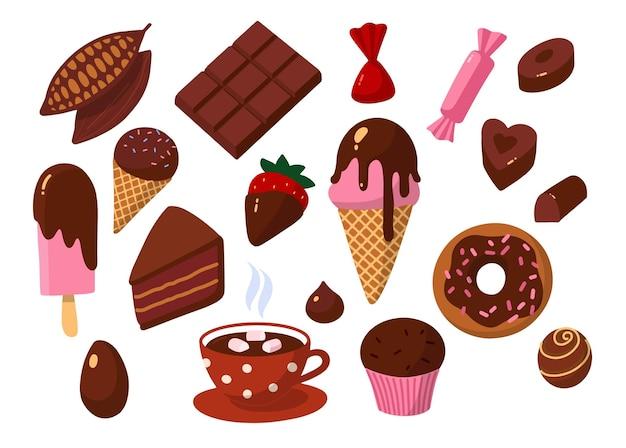 Doos met chocoladesnoepjes alle toepassingen van chocolade-cacaoboon bij het koken