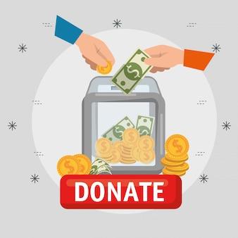 Doos met geld voor liefdadigheidsschenking