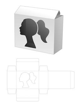 Doos met gestanst sjabloon in de vorm van een venster in de vorm van een vrouw