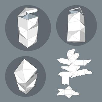 Doos met gestanste sjabloon. verpakkingsdoos voor voedsel, cadeau of andere producten. op witte geïsoleerde achtergrond. klaar voor uw ontwerp. productverpakking vector eps10.