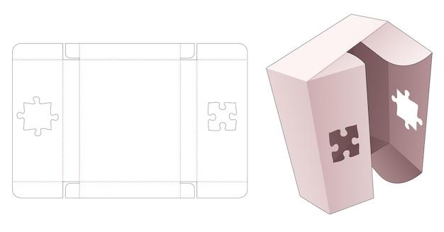 Doos met middelste opening met gestencilde puzzel in de vorm van een gestanste flip-sjabloon