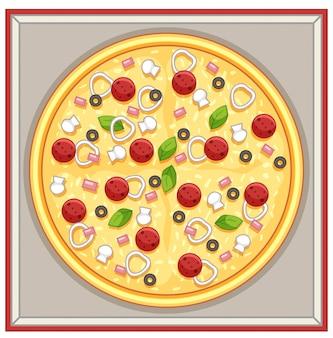 Doos pizza met vlees en groentenbovenste laagjes