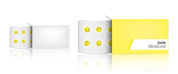 Doos realistisch pil verpakkingsgeneeskunde capsulepaneel met glimlach op witte medische illustratietabletten en gezondheid