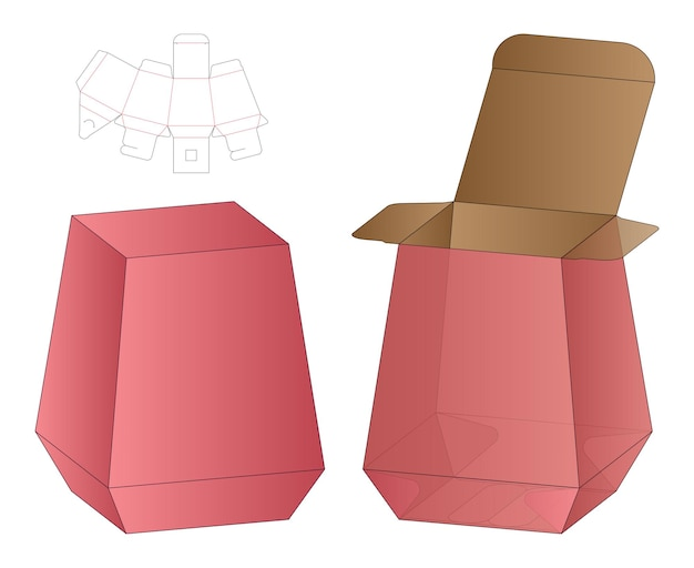 Doos verpakking dieline sjabloon ontwerp illustratie