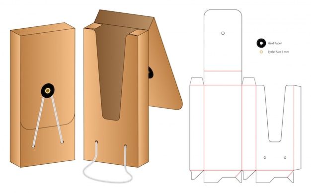 Doos verpakking gestanst sjabloonontwerp. 3d-model
