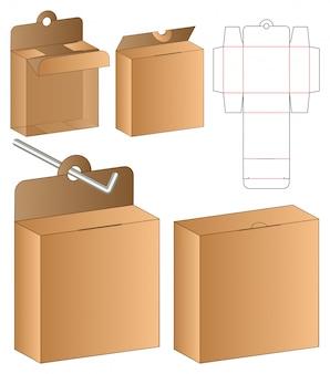 Doos verpakking gestanst sjabloonontwerp. 3d-sjabloon
